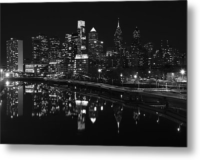 Philly And The Schuylkill Bw Metal Print by Jennifer Ancker