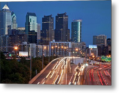 Metal Print featuring the photograph Philly Skyline With Highways by Matthew Bamberg