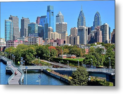 Metal Print featuring the photograph Philly With Walking Trail by Frozen in Time Fine Art Photography