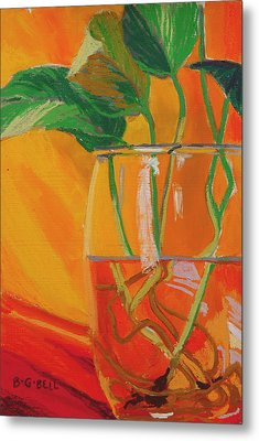 Philodendron In Glass Metal Print