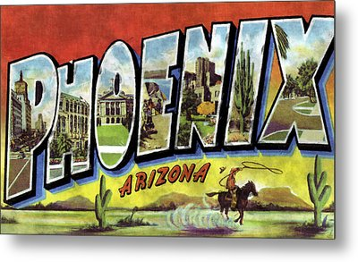 Phoenix Arizona Design Print Metal Print by World Art Prints And Designs