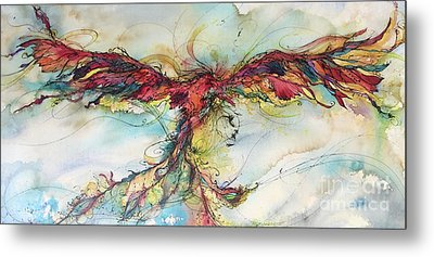 Metal Print featuring the painting Phoenix Rainbow by Christy Freeman