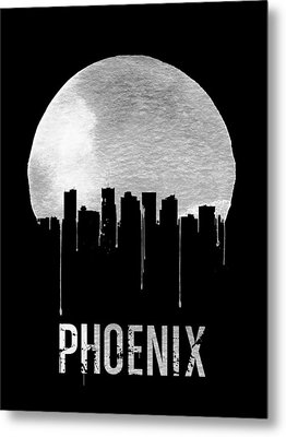 Phoenix Skyline Black Metal Print by Naxart Studio