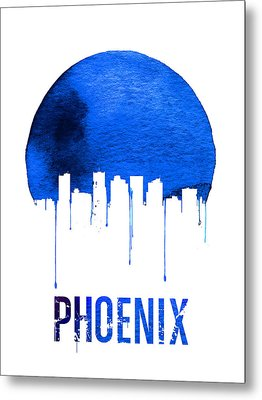 Phoenix Skyline Blue Metal Print by Naxart Studio