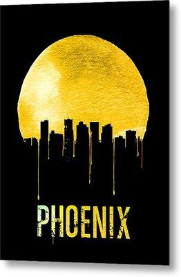 Phoenix Skyline Yellow Metal Print by Naxart Studio