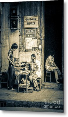 Phonecall On Chinese Street Metal Print by Heiko Koehrer-Wagner