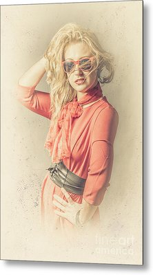 Photo Of Beautiful Girl In Vintage Fashion Style Metal Print by Jorgo Photography - Wall Art Gallery