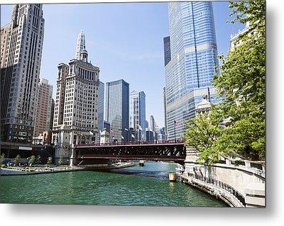 Photo Of Chicago Skyline At Michigan Avenue Bridge Metal Print