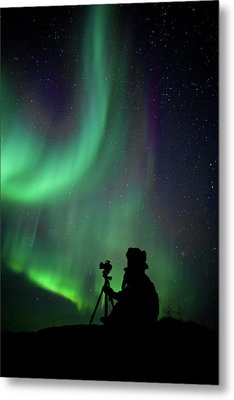 Photographer Catching Beautiful Light Metal Print by Lars Mathisen Photography