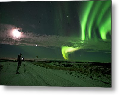 Metal Print featuring the photograph Photographer Under The Northern Light by Dubi Roman
