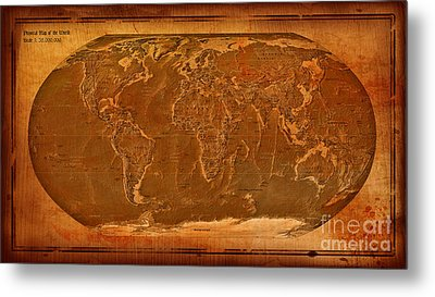 Physical Map Of The World Antique Style Metal Print by Theodora Brown