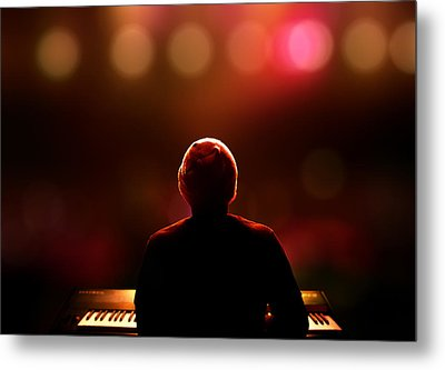 Pianist On Stage From Behind Metal Print by Johan Swanepoel