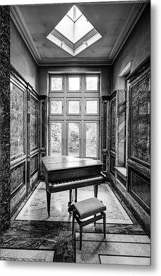 Piano Abandoned Castle Monochroom - Urban Exploration Metal Print by Dirk Ercken