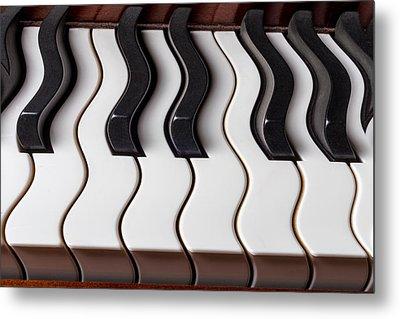Piano Keyboard Waves Metal Print