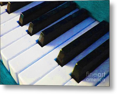 Piano Keys . V2 . Blue Metal Print by Wingsdomain Art and Photography