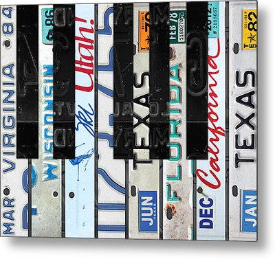 Piano Keys Black And White Recycled Vintage License Plate Art Metal Print by Design Turnpike