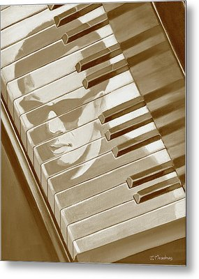 Piano Man In Sepia Metal Print by J L Meadows