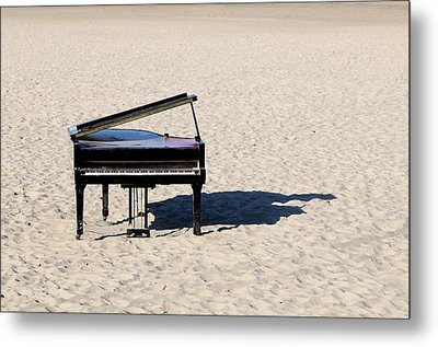 Piano On Beach Metal Print