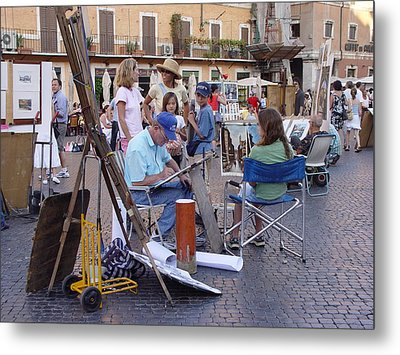Piazza Navona Metal Print by Angel Ortiz