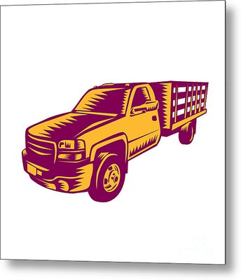 Pick-up Truck Woodcut Metal Print