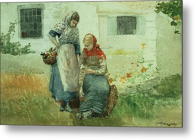 Picking Flowers Metal Print by Winslow Homer