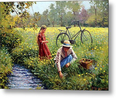 Picking Yellow Flowers Metal Print by Roelof Rossouw