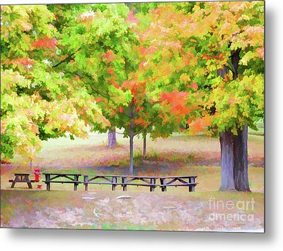 Picnic Tables On Olana 2 Metal Print by Lanjee Chee