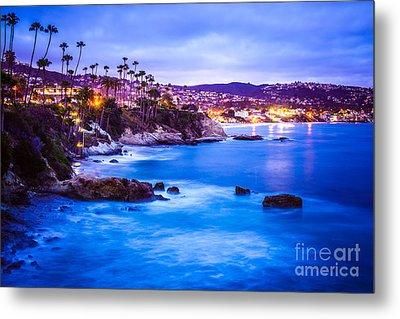 Picture Of Laguna Beach California City At Night Metal Print