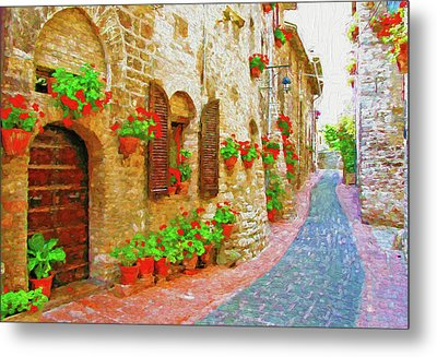 Picturesque Lane With Flowers In An Italian Hill Town Metal Print