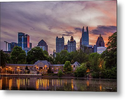 Metal Print featuring the photograph Piedmont Park Midtown Atlanta Sunset Art by Reid Callaway