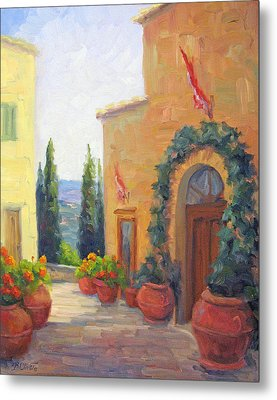 Pienza Passage Metal Print by Bunny Oliver