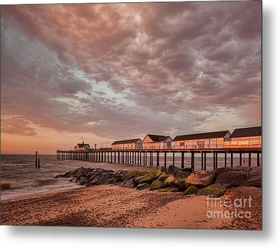 Metal Print featuring the photograph Pier At Sunrise by Colin and Linda McKie