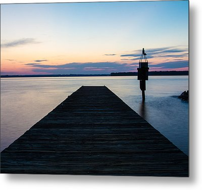Pier At Sunset 16x20 Metal Print