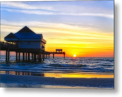Pier  At Sunset Clearwater Beach Florida Metal Print by George Oze
