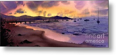 Metal Print featuring the painting Pier At Sunset by Sergey Zhiboedov