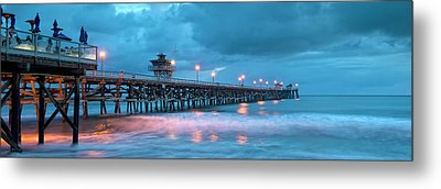 Pier In Blue Panorama Metal Print by Gary Zuercher