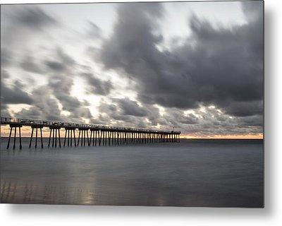 Pier In Misty Waters Metal Print by Ed Clark