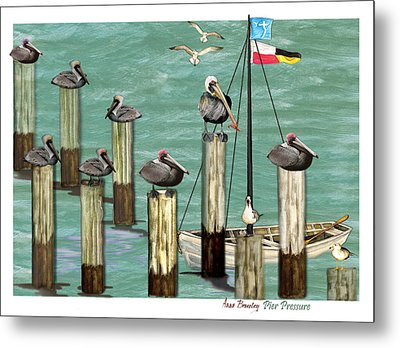 Metal Print featuring the painting Pier Pressure by Anne Beverley-Stamps