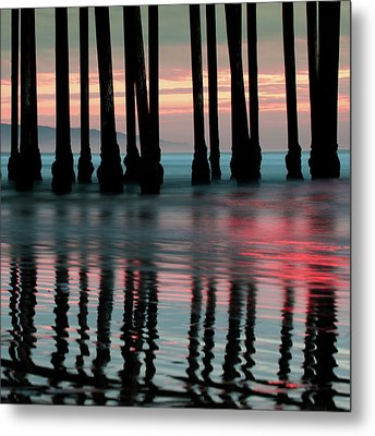 Metal Print featuring the photograph Pier Reflections - Ocean Sunset - California  by Gregory Ballos