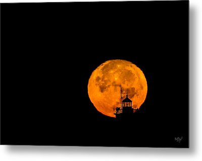 Metal Print featuring the photograph Pierhead Supermoon Silhouette by Everet Regal