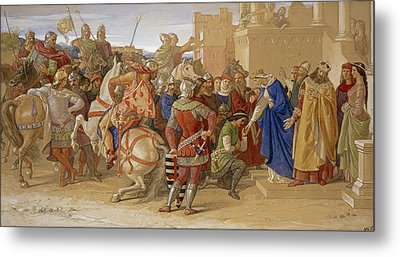 Piety - The Knights Of The Round Table Metal Print by William Dyce