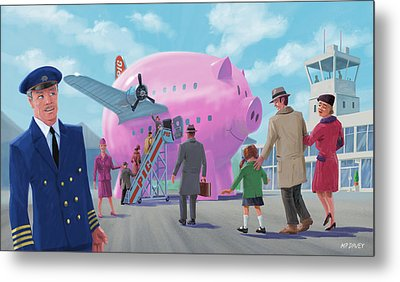 Pig Airline Airport Metal Print by Martin Davey