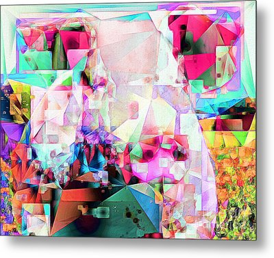Metal Print featuring the photograph Pig In Field In Abstract Cubism 20170413 by Wingsdomain Art and Photography