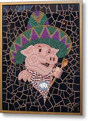 Pig In Sombrero Metal Print by Gila Rayberg