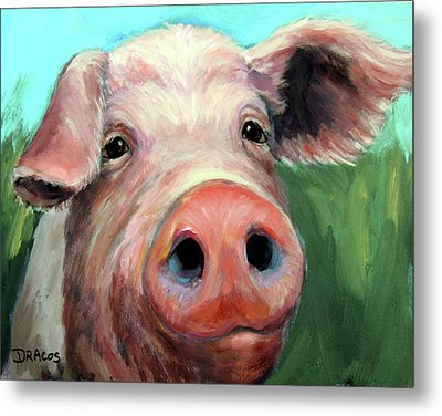 Pig On Blue And Green Metal Print by Dottie Dracos