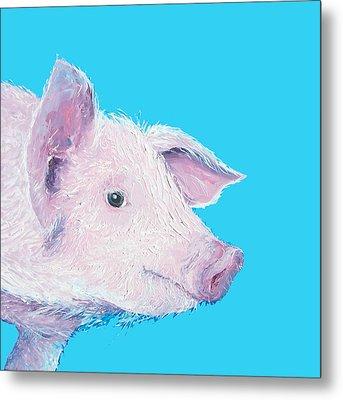 Pig Painting For The Nursery Metal Print