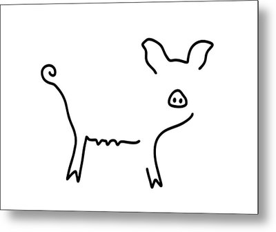 Pig Piglet Make A Mess Metal Print by Lineamentum