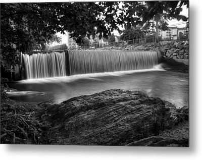 Pigeon River At Old Mill In Black And White Metal Print by Greg Mimbs