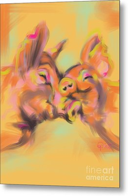Piggy Love Metal Print by Go Van Kampen