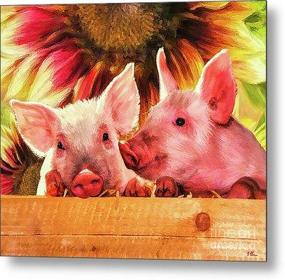 Piglet Playmates Metal Print by Tina LeCour